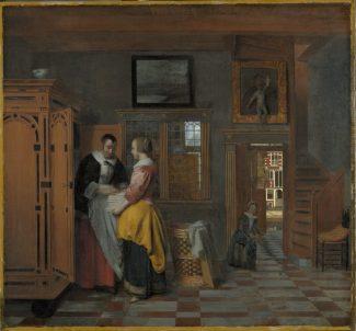 Pieter de Hooch, Intérieur avec des femmes devant une armoire à linge (1663). Avec l'aimable autorisation du Rijksmuseum, Amsterdam.
