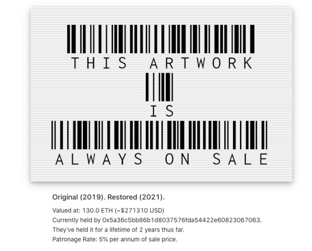 Screenshot of Simon de la Rouviere's <em>This Artwork Is Always on Sale</em> with data about its transaction history.