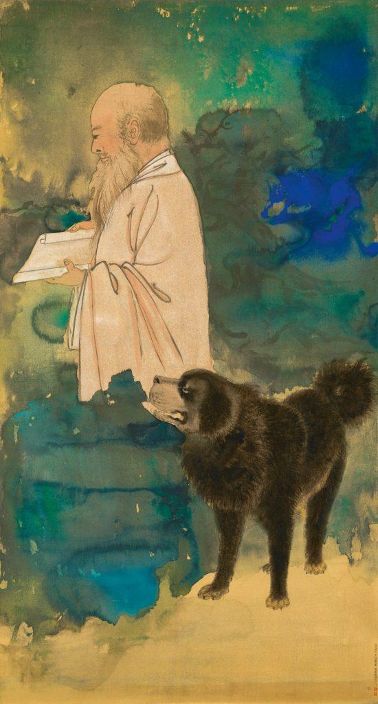 Zhang Daqian,Self Portrait with a Tibetan Mastiff. Courtesy of Sotheby's Hong Kong.