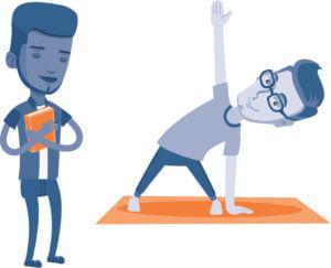 student on yoga mat