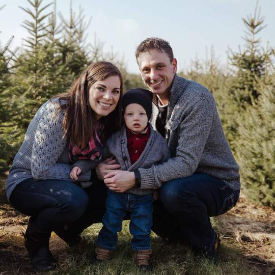 Scott Mousseau, wife, and young son