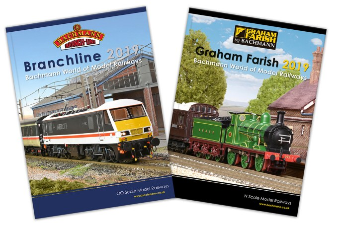 Image of the NEW Bachmann Branchline 2019 product catalogue & the Graham Farish 2019 catalogue.