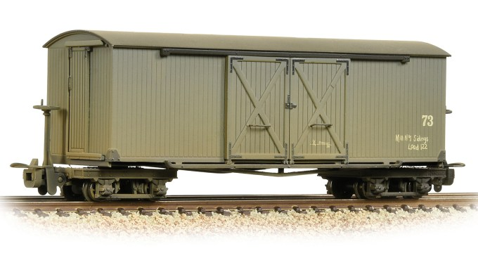 NEW 2019 Bachmann OO9 Bogie Covered Goods Wagon Nocton Estates L. R. Grey - Weathered (393-026A)