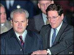 Slobodan Milosevic şi Richard Holbrooke