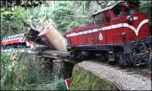 BBC News | NEWS | 臺灣阿里山小火車翻覆