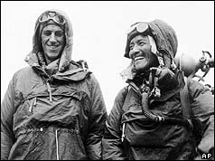 hillary and tenzing sherpa at the Everest summit, 1953