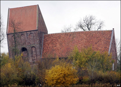 The most leaning tower of the world at a church in Suurhusen,  northern Germany