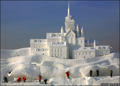 This snow palace is one of loads of gigantic snow sculptures that have been built for the 20th International Snow Sculpture show in the Heilongjiang Province, China.