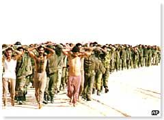 Allied troops march Iraqi prisoners of war