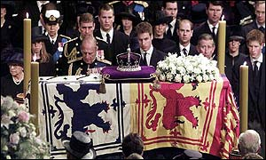 The Royal Family mourning during the funeral service
