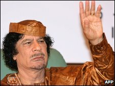 Libyan leader Muammar Gaddafi in Tripoli on 15 April 2009