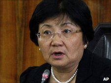 Kyrgyz interim government leader Roza Otunbayeva speaks to the media in Bishkek, Kyrgyzstan, Tuesday, June 15, 2010.
