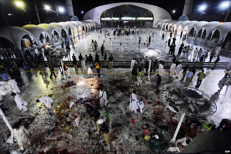 Scene of blast at Lahore shrine