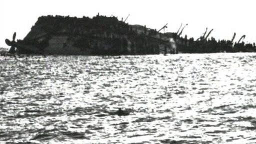 The Lancastria after capsizing (image: BBC)