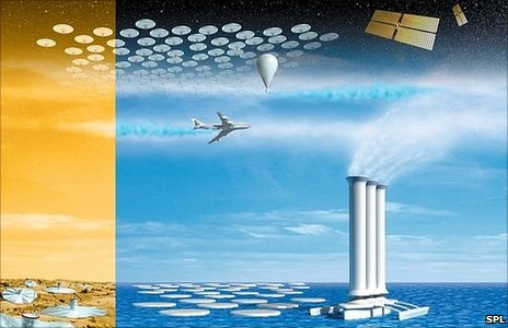 Illustration showing multiple geoengineering approaches