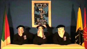 Eta militants in the video declaring a ceasefire