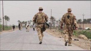 British soldiers on patrol in Basra in April 2009