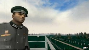 "Screen grab from game ""1378"" showing border guard"