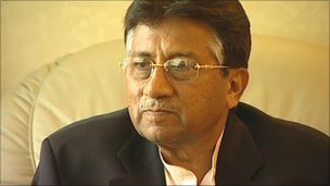 Pervez Musharraf speaking to BBC News ahead of the rally