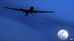 US Predator drone flies over Kandahar Air Field, southern Afghanistan, file image