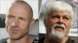 Former anti-whaling campaign collaborators Peter Bethune and Paul Watson