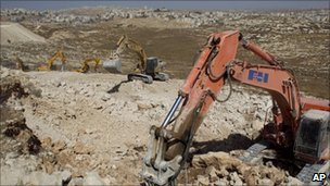 Bulldozers at a construction site in Pisgat Zeev, 15 October
