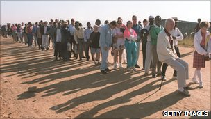 Queues at the polling station in Zevenfontein squatter camp, northern Johannesburg, 1994