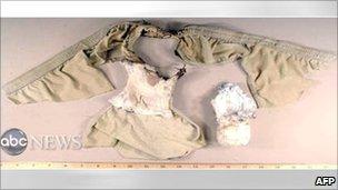 Bomba en calzoncillos usados por Umar Farouk Abdulmutallab (27 diciembre 2009)