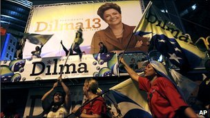 Supporters of Dilma Rousseff celebrate her victory in Sao Paulo