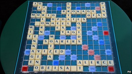 The winning Scrabble board