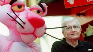 Blake Edwards with the Pink Panther in 1999