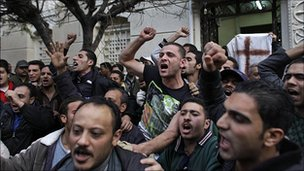 Angry Coptic Christians after Alexandria bombing, 1 Jan 11