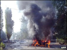 Scene of car bombing which wounded regional government minister Bekmurza Bekmurzayev Sep 2010