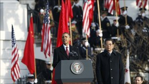 Presidents Obama and Hu Jintao at White House