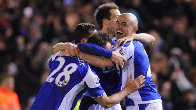 Birmingham City celebrate during their Carling Cup semi-final against West Ham