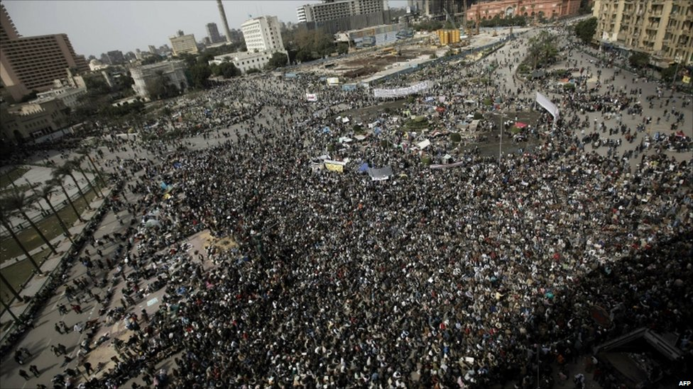 Egyptian anti-government protesters gathered at Cairo's Tahrir Square - 4 February 2011