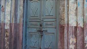 Closed doors in the Shahi Mohallah area of Lahore