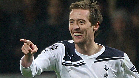 Peter Crouch shows his delight after his winner for Tottenham at AC Milan