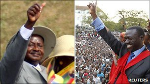 Yoweri Museveni (Left) and Kizza Besigye (Right)