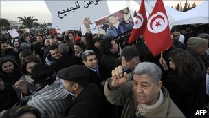 Demonstrators in Tunis demand that Tunisian people return to work and stop street rallies. Photo: 1 March 2011