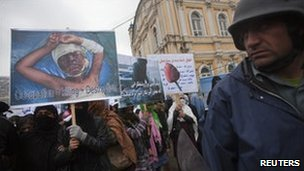 People rallied to condemn the killing of civilians by Nato and the Taliban.