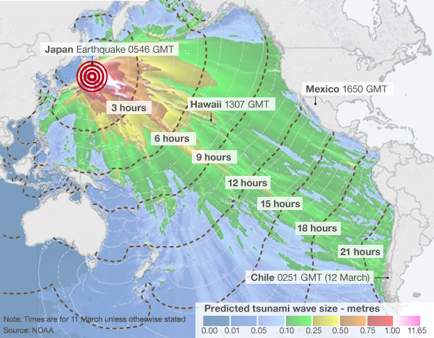 Estimated arrival times and amplitude of tsunami waves