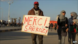 Man in Benghazi with a placard