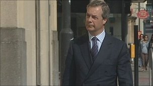 Nigel Farage arriving at court