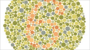 Blobs of colour in a test for vision deficiency