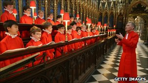 Master of the choristers James O'Donnell conducts the Choir of Westminster Abbey during a rehearsal