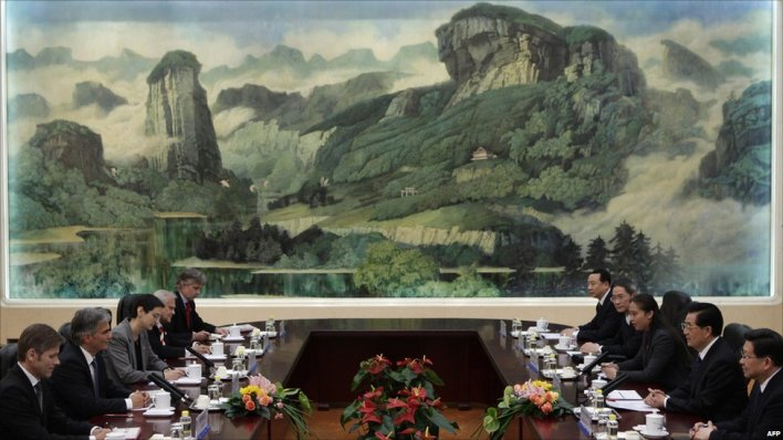Austrian and Chinese politicians in front of painting in Great Hall of the People, Beijing