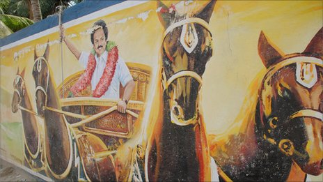 An elaborate mural by the incumbent DMK Party