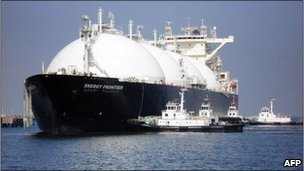 A liquefied natural gas ship tanker arrives at a gas storage station in Japan
