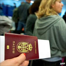 Serbian travellers at Belgrade airport - file pic